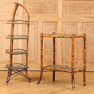 LOT OF TWO FRENCH LACQUERED BAMBOO TABLES C.1880