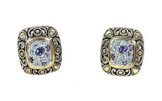 John Hardy 18k Gold Blue Topaz Amethyst Earrings