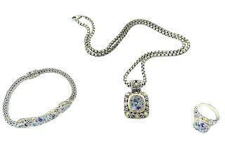 John Hardy Ring, Bracelet and Station Necklace Set