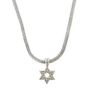 John Hardy Star of David SS 18k Diamond Necklace