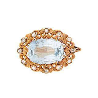 MARCUS & CO. AQUAMARINE & DIAMOND YELLOW GOLD BROOCH