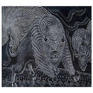 Olegario Hernández Ramírez. Xan Xain. Serigrafía, 2/20 Firmada y fechada 2013. Con sello del taller. Con dedicatoria. 25 x 35 cm