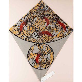 Francisco Toledo. Papalote con camarones. Técnica mixta sobre papel C46280. Firmado. Enmarcado. 72 x 57 cm