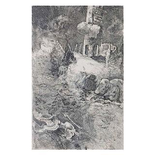 Vlady Kibálchich. El ensueño. Buril sobre papel algodón, 21.31 Firmado y fechado 81. Con dedicatoria.