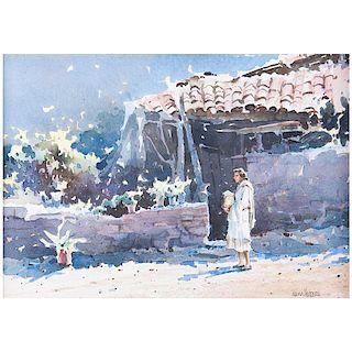 Jesús Águila Herrera. Sin título. Acuarela sobre fibracel. Firmada. Enmarcada. 23 x 32 cm