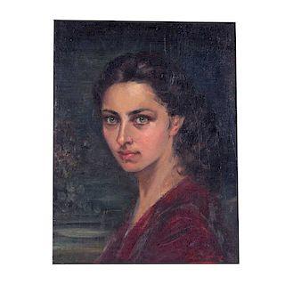 Pilar Calvo. Retrato femenino. Óleo sobre yute. Firmado. 50 x 36 cm