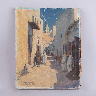 Firmado Ángel Soto. Vista de calle del África del Norte. Óleo sobre tela. Firmado y fechado 1946. Con dedicatoria. 25 x 20 cm