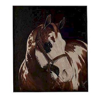 Juan Rayas (México, siglo XX) Caballo pinto. Óleo sobre tela. Firmado y fechado 1992. Enmarcado.