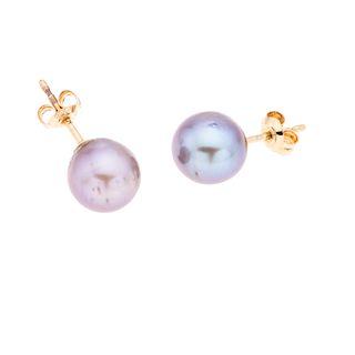 Par de broqueles con perlas en oro amarillo de 18k. 2 perlas cultivadas en color gris de 9mm. Peso: 2.4 g.