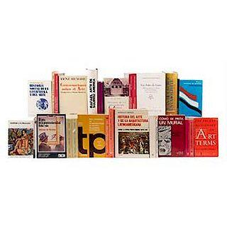 CAJA DE LIBROS CON TEMAS DE POESÍA, ARTE MEXICANO, ARQUITECTURA, TESIS, LITERATURA. Total de piezas: 57.