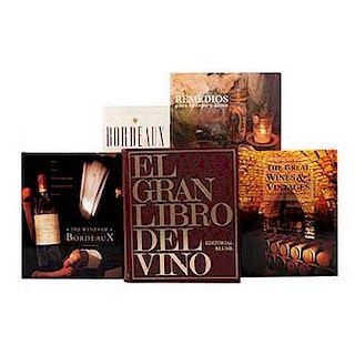 LOTE DE LIBROS SOBRE TEMAS DE VINO Y REMEDIOS HERBOLARIOS. Total de piezas: 5.