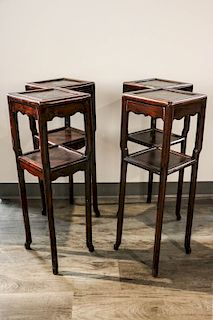 PAIR OF DOUBLE LOZENGE FORM PLANT STANDS, MID 20TH C.