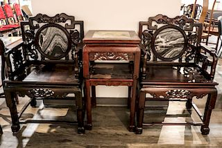 MARBLE INLAY ROSEWOOD CHAIRS & STAND SET, REPUBLICAN P.