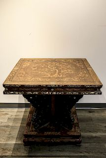 HUALI AND BURLWOOD INLAY TABLE, REPUBLICAN PERIOD