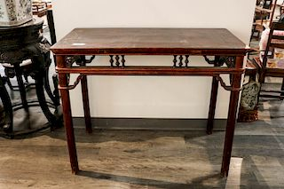 RED LACQUERED HARDWOOD TABLE , 17/18TH C.