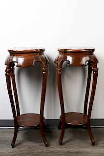 PAIR OF HUALI WOOD INCENSE STANDS