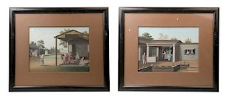 A PAIR OF CHINESE EXPORT GOUACHE PAINTINGS, 18TH&19TH CENTURY