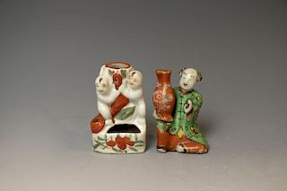 TWO FAMILLE ROSE INCENSE HOLDERS, 19TH CENTURY