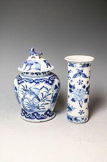 GROUP OF TWO BLUE AND WHITE VASES, KANGXI MARK