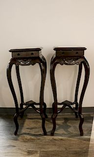 PAIR OF ROSEWOOD PLANT STANDS WITH MARBLE INLAY TOPS