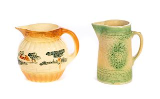 Roseville and Stoneware Pitcher