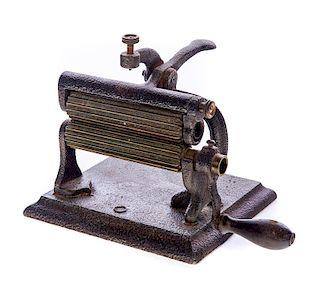 1866 Cast Iron and Brass Fluting Iron