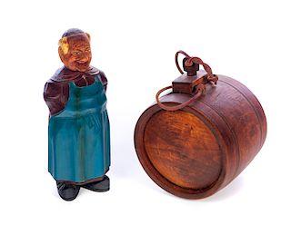 Carved Wood Folk Art Decanter and Keg