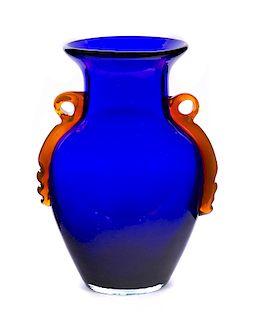 Cobalt Blue Art Glass Vase with Polished Bottom