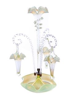 """Victorian Yellow Opalescent 20"""" Epergne"""