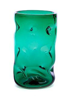 Grotesque Green Art Glass Vase by Erickson