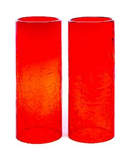2 Ruby Red Imperial Hurricane Crackle Glass Shades