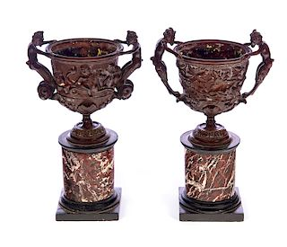 Pair of Bronze & Marble Classical Urns