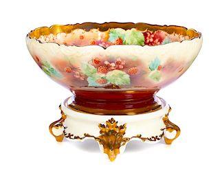 T & V Limoges France 2 Piece Raspberry Punch Bowl