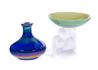 2 Pcs of Art Glass: Fenton and Sevres