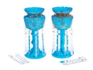 2 Victorian Blue Enamel Mantel Lusters