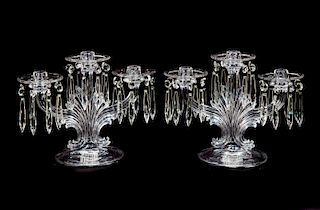2 Fostoria Crystal Candelabras