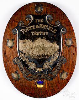 The Porte & Markle Trophy horse show wall plaque
