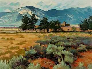 ROBERT DAUGHTERS (1929-2013) TAOS OIL ON CANVAS