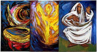 ARTHUR KRAFT (1922-1977) THREE PAINTINGS 65 x 48