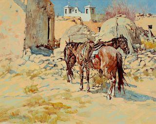 ROSS STEFAN (1934 - 1999) WESTERN OIL ON CANVAS