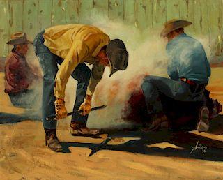 GORDON SNIDOW (BORN 1936) WESTERN OIL ON CANVAS