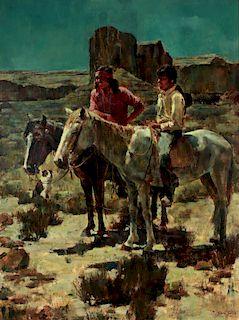 ROBERT TOTTEN (B. 1920) OIL OF NAVAJO IN MOONLIGHT