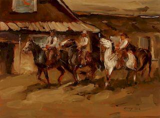 GEORGE DICK (1916-1978) OIL ON PANEL