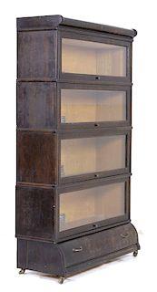 Antique Viking Oak Veneer Barrister's Bookcase