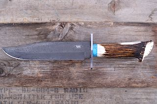M.T. Knives Damascus Bowie with Turquoise & Stag
