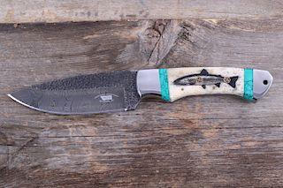 Montana Cutthroat Trout Scrimshaw Damascus Knife