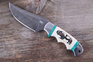 M.T. Knives Buffalo Scrimshaw & Turquoise Damascus
