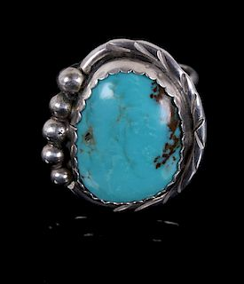 Verdy Jake Navajo Sterling Number 8 Turquoise Ring