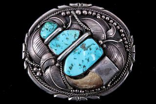 Navajo Bear Claw & Turquoise Sterling Belt Buckle