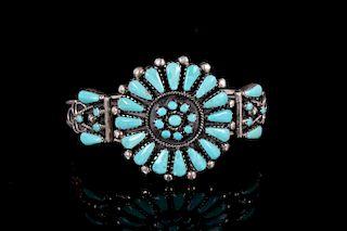 Navajo Petite Point Fox Turquoise Bracelet